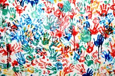 Free Colorful Hand Prints Stock Photography - 15838032