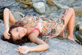 Free Portrait Of A Young Woman Lying On A Rock Royalty Free Stock Photo - 15840895
