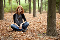 Free Beautiful Red-haired Girl In Autumn Park Royalty Free Stock Photos - 15849868
