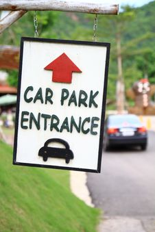 Free Sign Car Park Entrance Royalty Free Stock Photo - 15840545