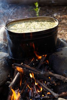 Free Kettle With Food On Campfire Stock Photography - 15840702