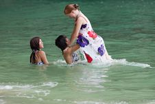 Girls Swimming In The Sea Royalty Free Stock Photography