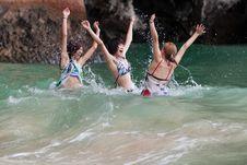 Girls Swimming In The Sea Stock Image