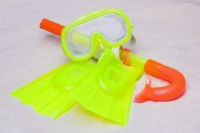 Free A Child S Snorkel, Mask & Flippers Stock Photos - 15841933