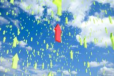 Free Sky Filled With Flying Arrows With One Standing Ou Royalty Free Stock Photo - 15842245