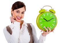 Free Lady Holding Alarm Clock Stock Photography - 15843932