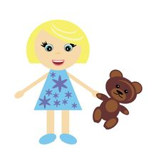 Free Little Girl With Teddy Bear Stock Photography - 15844132