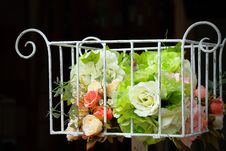 Beautiful Flowers In Basket Royalty Free Stock Photography