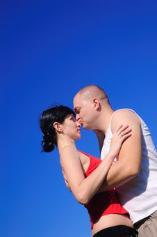Free Enamoured Pair On Sky Background Royalty Free Stock Photo - 15844515