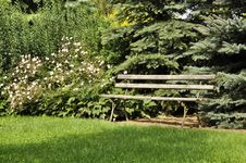 Free Bench In The Park Corner Stock Photos - 15844993