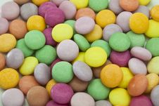 Multi Color Candy On White Dish Close Up Royalty Free Stock Photos