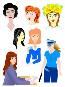 Set Of Female Characters Stock Photo