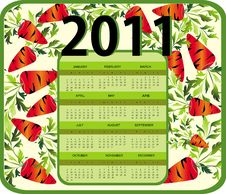 Free Calendar For Year 2011 (starts Sunday) Royalty Free Stock Image - 15847936