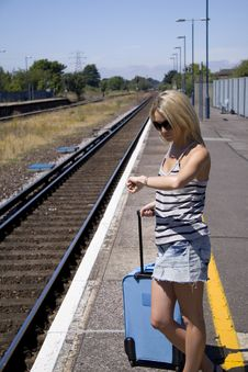 Free Lady Waiting For Train Stock Photo - 15848130