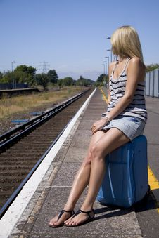 Free Lady Waiting For Train Royalty Free Stock Image - 15848146