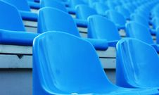 Free Empty Blue Plastic Stadium Seats Royalty Free Stock Photo - 15849405