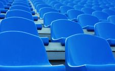 Free Empty Blue Plastic Stadium Seats Royalty Free Stock Image - 15849446