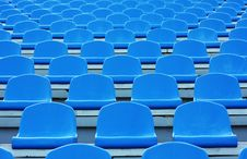 Free Empty Blue Plastic Stadium Seats Royalty Free Stock Photos - 15849478
