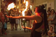Free Ágnes Györe Blindfolded Fire Performance @ Gallery Rigo &x28;exhibition Opening&x29; Royalty Free Stock Image - 158487706