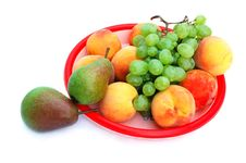 Free Grapes, Peaches And Pears In The Tray Stock Photo - 15850000