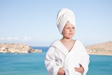 Free Little Girl With Towel On Head In White Bathrobe Royalty Free Stock Image - 15850686