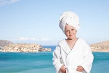 Free Little Girl With Towel On Head In White Bathrobe Royalty Free Stock Photography - 15850687