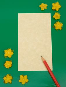 Free Notelet: Message Pad With Flowers. Stock Photos - 15851023