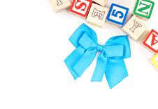 Free Blue Ribbon With Toy Blocks Royalty Free Stock Images - 15851819
