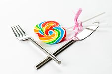 Free Knife, Fork And Lollilpop Royalty Free Stock Photo - 15852535