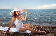 Free Beautiful Girl In A White Hat Stock Image - 15853161