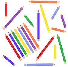 Free The Scattered Color Pencils Stock Photos - 15853253