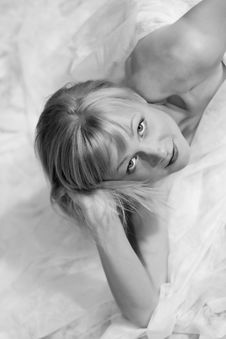 Beautiful Sexy Blond Woman In BW Royalty Free Stock Photo