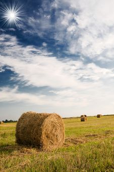 Free Haystacks And Wonderful Clouds. Stock Images - 15854014