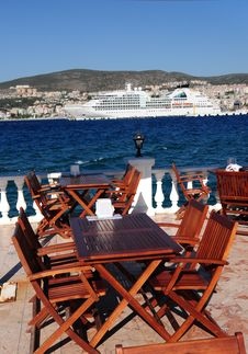 Free Restaurant Tables On A Terrace In Turkey Royalty Free Stock Image - 15857626