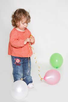 Free Little Girl Playing With Colorful Balloons Stock Photography - 15857952