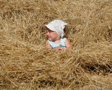 Free Little Girl In Hay Royalty Free Stock Photos - 15858008