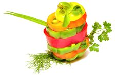 Mixed Peppers In Stack Stock Image