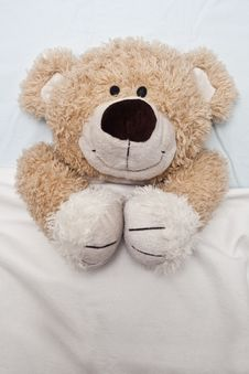 Free Teddy Bear Laying In Bed Royalty Free Stock Images - 15859799