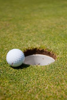Golf Hole With Ball Royalty Free Stock Images
