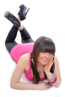 Free Pretty Young Girl In Pink Top Lay On Floor Royalty Free Stock Photography - 15860567