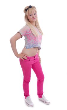 Free Pretty Young Blond Girl Posing Stock Image - 15860731