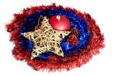 Free Christmas Decorations Lying On Red And Blue Chains Royalty Free Stock Image - 15860766