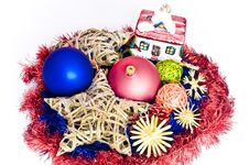 Free Colorful Christmas Decorations Isolated On White Royalty Free Stock Photos - 15861338