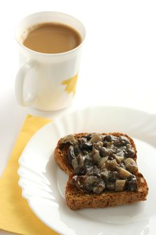 Free Toast With Mushrooms Paste And A Cup Of Coffee Stock Photos - 15861963