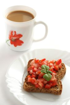 Free Toast With Cut Tomato And A Cup Of Coffee Royalty Free Stock Photos - 15861968