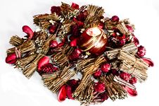 Free Christmas Decorations And Candle Lit Isolated Stock Photos - 15862293