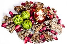 Free Various Christmas Decorations With Candle Lit Royalty Free Stock Photo - 15862455