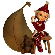Free Elf Girl As A Christmas Help Royalty Free Stock Images - 15862619