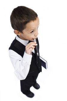 Boy With A Pen Stock Photography