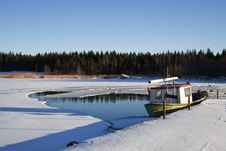 Free Fishing Boat In Wintertime Stock Photography - 15864042